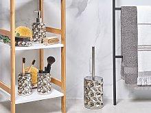 Bathroom Accessories Set Silver Ceramic Glam Soap