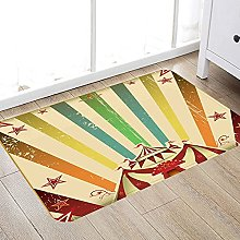 Bathroom anti-slip mat Vintage Rainbow,Old Circus