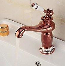 Bathroom Basin Faucet Rose Gold Finish Brass Mixer