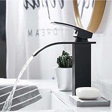 Bathroom Basin Taps Water-Saving Waterfall Black