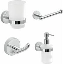 Bathroom Chrome 4 Piece Accessory Set Frosted