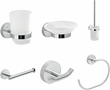 Bathroom Chrome 6 Piece Accessory Set Frosted