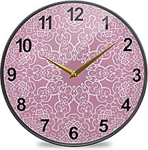 Bathroom Clock Pink Vintage Mandalas Wall Clock