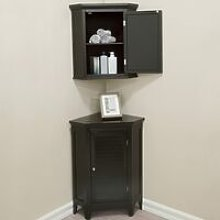 Bathroom Corner Cabinet Unit Set 3 pieces Brown