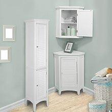 Bathroom Corner Cabinet Unit Set 3 pieces White