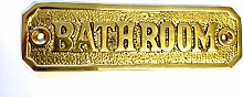 BATHROOM Door Sign Solid Brass with a Polished