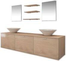 Bathroom Furniture and Basin Set Eight Piece Beige