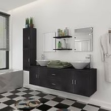 Bathroom Furniture Set with Basin with Tap Black