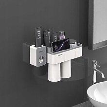 Bathroom holder wall mount 2 cups + storage box
