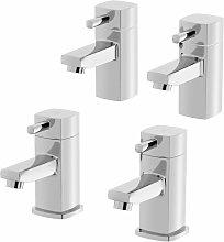 Bathroom Hot & Cold Basin Sink Taps Bath Taps Set