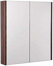 Bathroom Mirror Cabinet 600mm 2 Door White Walnut