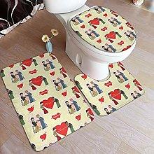 Bathroom Rug Boys With Hearts Non-Slip Toilet Seat