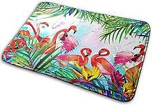 Bathroom Rugs Bath Mat Tropical Flamingo Bird Leaf