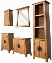 Bathroom Set 5 Pieces Solid Recycled Pinewood