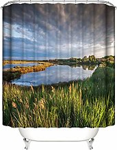 Bathroom Shower Curtain. 180X180 Cm. 12 C-Shaped