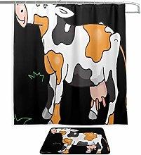 Bathroom Shower Curtain Fabric Cow Cattle