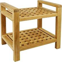Bathroom stool with armrests and shelf 50 x 50 x 33 cm certified teak wood - Primematik