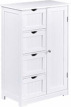 Bathroom Storage Cabinet Free Standing White with