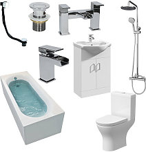 Bathroom Suite Toilet Single Ended Curved Bath