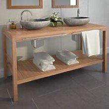 Bathroom Vanity Cabinet Solid Teak 132x45x75 cm