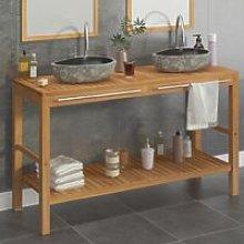 Bathroom Vanity Cabinet Solid Teak with Riverstone
