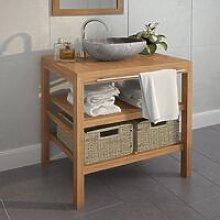 Bathroom Vanity Cabinet with 2 Baskets Solid Teak