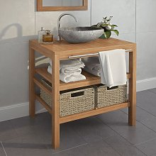 Bathroom Vanity Cabinet with 2 Baskets Solid Teak