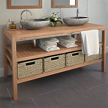 Bathroom Vanity Cabinet with 4 Baskets Solid Teak