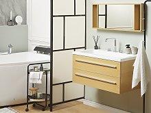 Bathroom Vanity Unit Beige and Silver 2 Drawers