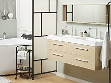 Bathroom Vanity Unit Light Wood Four Drawers