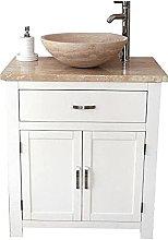 Bathroom Vanity Unit | White Cabinet Wash Stand Travertine Top & Basin