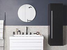 Bathroom Wall Cabinet Black MDF 132 x 40 cm with 4