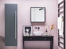 Bathroom Wall Cabinet Grey MDF 132 x 40 cm with 4