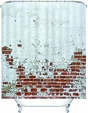 Bathtub Decor Shower Curtain Wall Brick