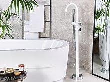 Bathtub Faucet White with Silver Matt Chrome