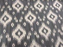 Batik Ikat Pelt Grey Cotton Curtain Fabric