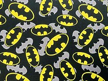 Batman Fabric - Black Yellow Batman Logo Fabric -