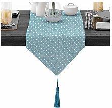 BATOHOME Silver Tablecloth, Linen Light Blue Table