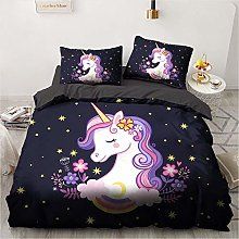 BATTE Girls Pink Unicorn Animal Cartoon Duvet