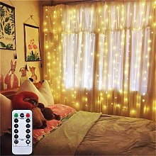 Battery Operated Curtain Window String Lights with
