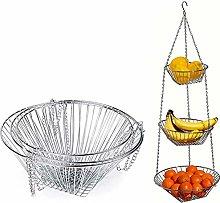 BAUBEY 3-Tier Hanging Basket, Wire Hanging Fruit