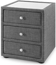 Baylin Glass Top Fabric Bedside Cabinet In Slate