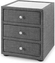 Baylin Glass Top Fabric Bedside Cabinet In Slate