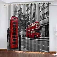 Bbaodan Blackout Curtain Grey London City 2Pcs W29