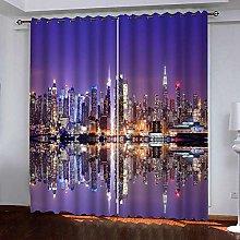 Bbaodan Eyelet Blackout Curtains Purple & New York