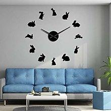 BBNNN Rabbit 3D Acrylic Mirror Wall Wall Clock