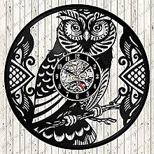 BBNNN Wall clock classic owl wall clock vinyl wall