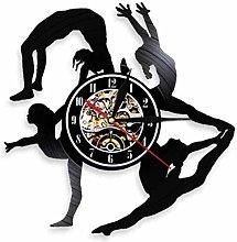 BBNNN Wall clock vinyl wall clock gymnastics girl