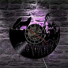 BBNNN Wolf Group Vinyl Clock Record Animal LED
