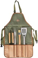 BBQ Apron With 4 Stainless Steel BBQ Tools -